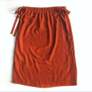 Orange Velvet Midi Skirt, H&M, Size 10